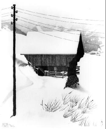 Снег. 1936, литография