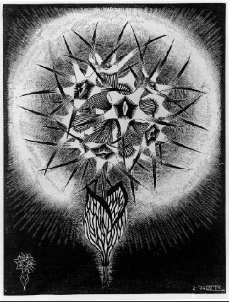 Колючий цветок. 1936, резьба по дереву