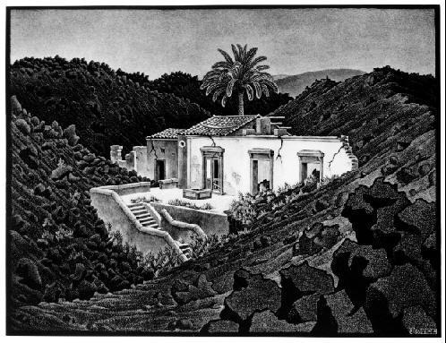 Дом в Лаве возле Нунзиаты, Сицилия. 1936, литография