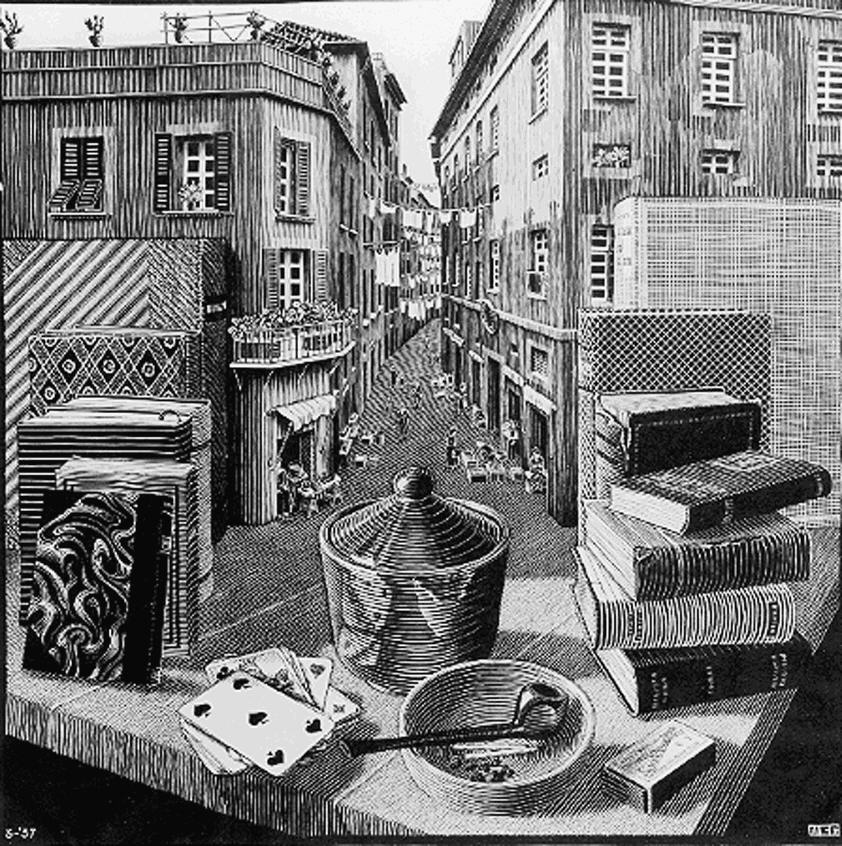Натюрморт и улица. 1937, гравюра на дереве