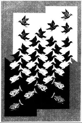 Небо и вода II. 1938, гравюра на дереве