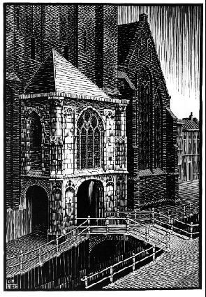 Вход в Оуде Керк, Дельфт. 1939, гравюра на дереве
