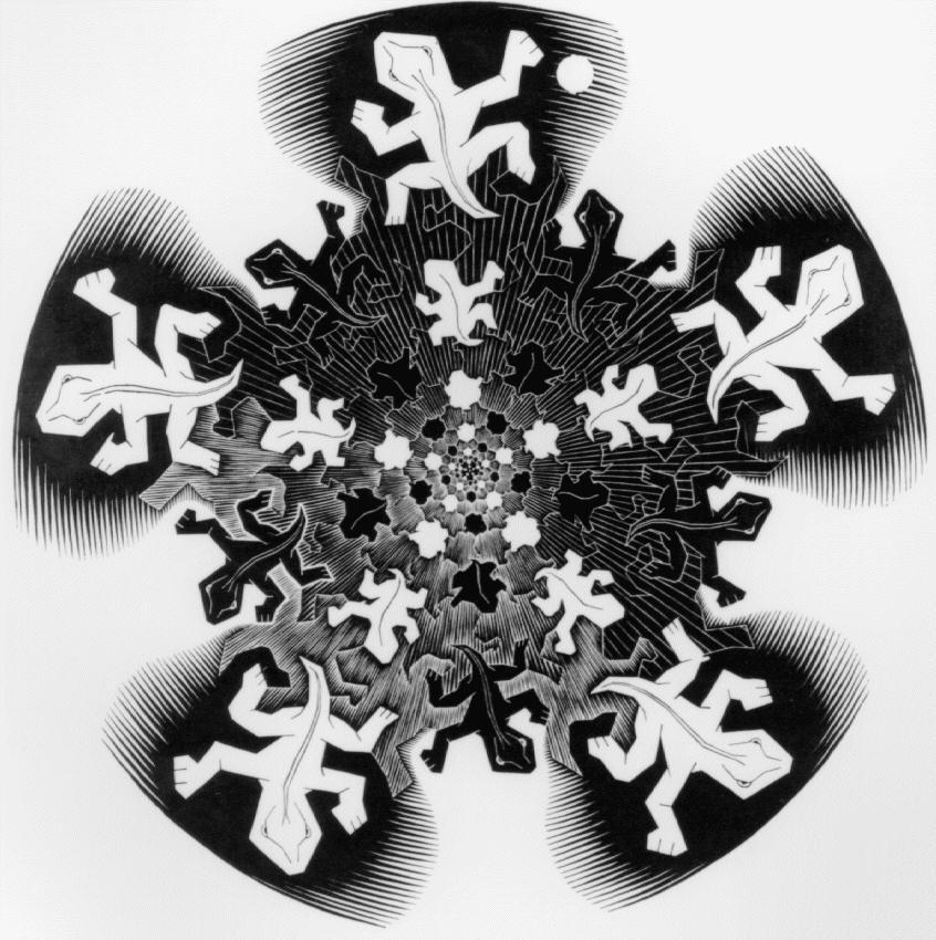 Эволюция II. 1939 первая версия, гравюра на дереве