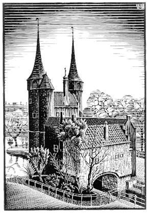 Восточные ворота, Дельфт. 1939, гравюра на дереве