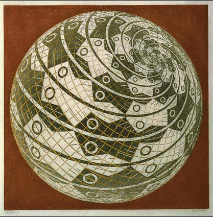 Сфера с поверхностью из рыб. 1958, гравюра на дереве