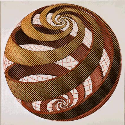 Сферическая спираль. 1958, гравюра на дереве