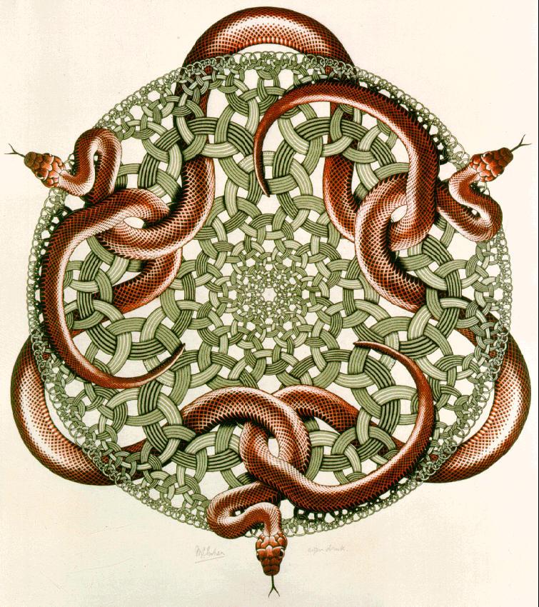 Змеи. 1969, гравюра на дереве